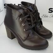 Кожаные зимниеботинки со шнуровкой,ботильоны на овчине Soldi Солдинатуральная кожа р.36