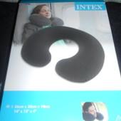 Надувная подушка подголовник на шею для путешествий взрослый велюрчик Интекс