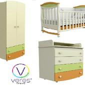 Верес детская комната кроватка шкаф комод-пеленатор, матрас зима-лето