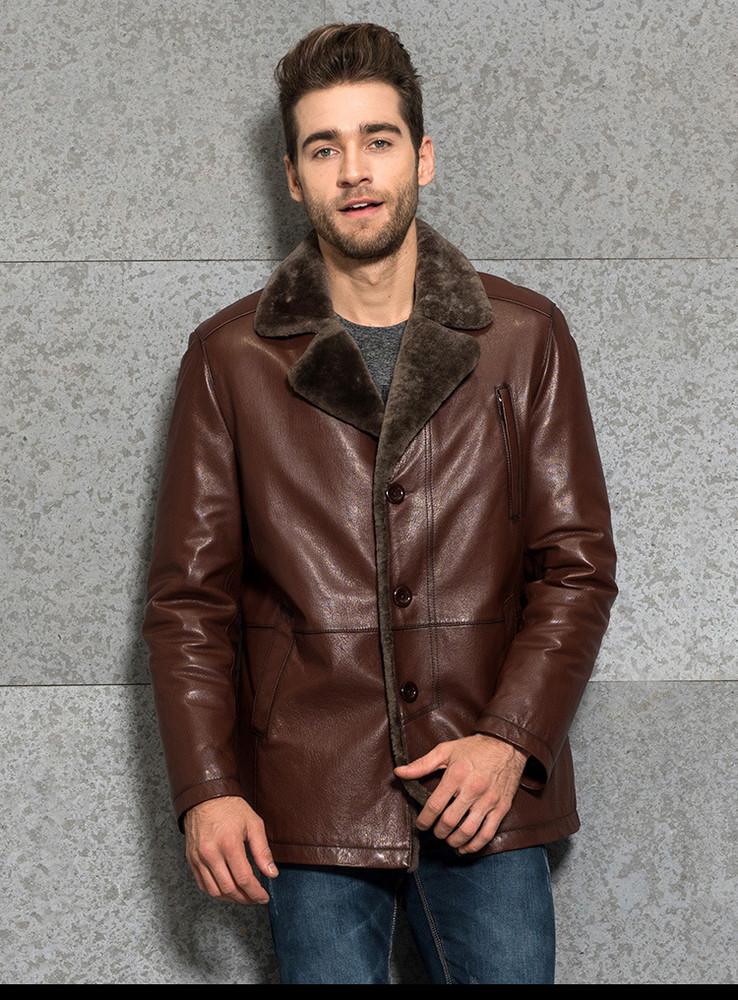 Удлиненная мужская дубленка.Куртка кожанная на овчине.Новая. фото №1