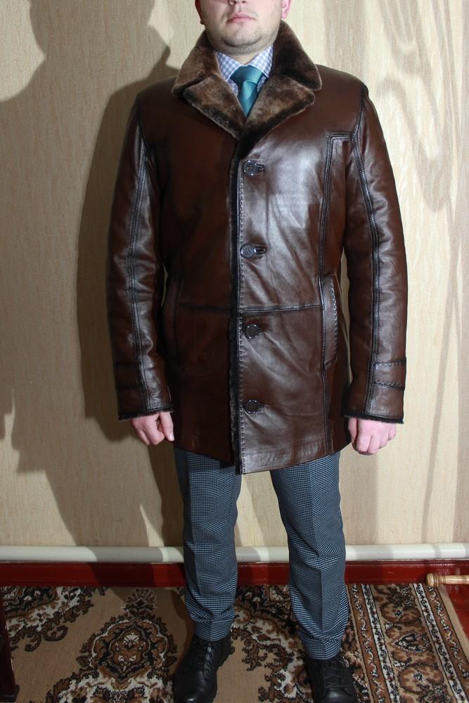 Удлиненная мужская дубленка.Куртка кожанная на овчине.Новая. фото №2