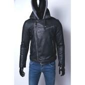 Кожаная куртка на тонкой мех подкладке качественный кож-зам