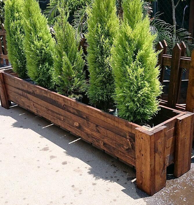 Деревянные кашпо, клумбы, ящики для цветов из дерева фото №1