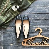 Шикарные кожаные балетки туфли M&S с декольте р-р 39