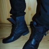 Брендовие кожание ботинки сапоги Crafted denim.43