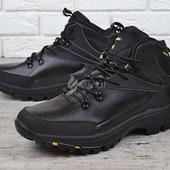 Ботинки кожаные waterproof мужские зимние черные Big man большие размеры