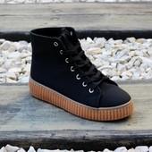 Ботинки на рифленой подошве 3 цвета Т110