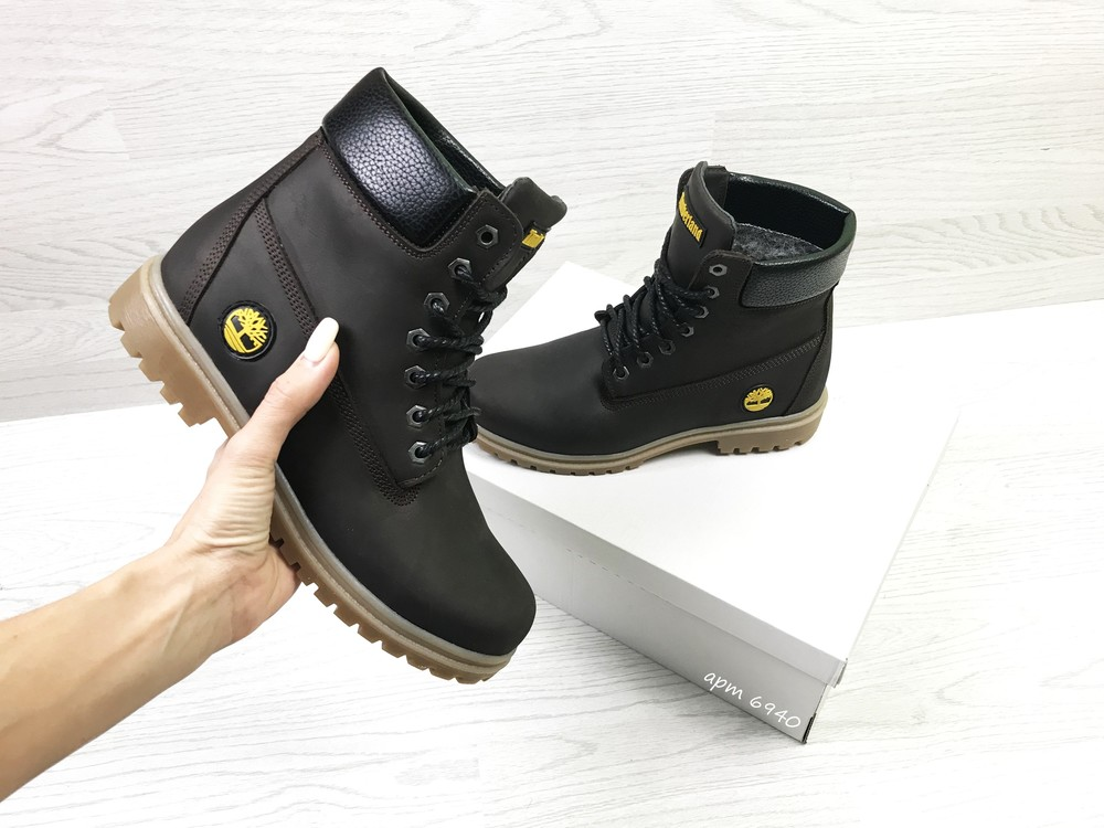Зимние женские ботинки timberland dark brown фото №1