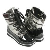 Бронзовые сапоги дутики на шнуровке