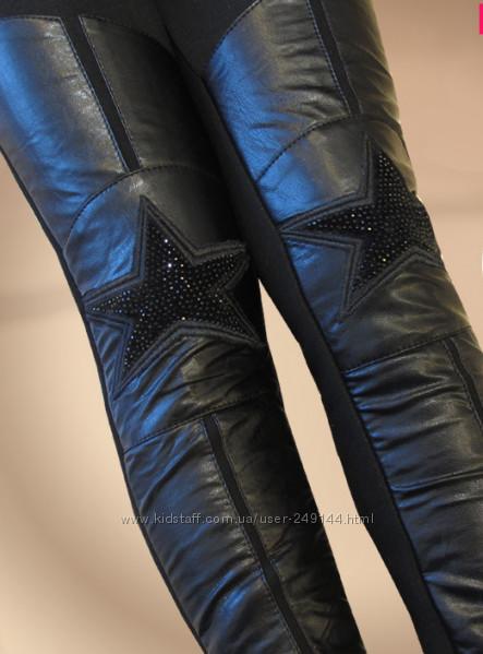 В наличии, кожа pu зимние черные со звездой лосины на меху размер 120-160 фото №1