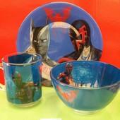 Детский набор посуды со стекла ,3 предмета