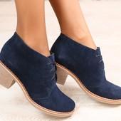 Демисезонные женские ботинки, замшевые, темно-синие, на байке, на шнурках, на небольшом устойчивом к