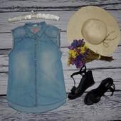 13 - 14 лет 164 см S фирменная джинсовая блузка блуза рубашка майка для модниц Зара Zara