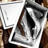 Туфли лодочки толстый каблук серебро серебряные тренд 36 37 стелька кожа лаковые