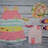 2 - 4 года 98 - 104 см H&M Прикольное натуральное летнее платье сарафан бабочки