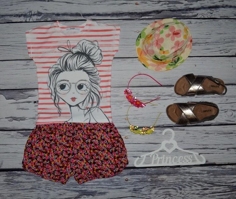 6 - 7 лет 116 - 122 см Обалденная фирменная футболка девочке с принтом и блестками фото №1