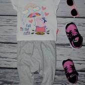 9 - 12 месяцев 80 см Фирменная футболка футболочка девочке натуральная Peppa Pig Свинка Пеппа
