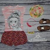 6 - 7 лет 116 - 122 см Обалденная фирменная футболка девочке с принтом и блестками