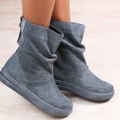 Женские ботинки, серые, замшевые, на низком ходу, на байке