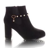 Классические женские ботинки на широком каблуке