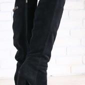 Зимние женские сапоги-ботфорты, замшевые, европейка, черные, на высоком устойчивом каблуке