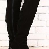 Ботфорты женские черные замшевые демисезонные без каблука