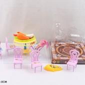 Мебель 125  для столовой,куклы,стол,стулья,посуда в наб