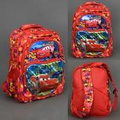 Рюкзак школьный 555-455 Тачки, 2 вида, 5 отделений, 2 кармана, спинка ортопедическая