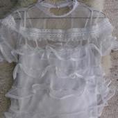 River Island  белая блуза с воланами 14-размер. Оригинал.