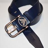 Стильный кожаный ремень Armani синий и черный