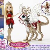 Ever After high кукла с драконом dragon Games apple white doll .