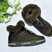 Женские зимние ботинки хаки