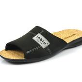 100-11L-014 , Тапочки мужские домашние Inblu Инблу , цвет - черный, стелька - пробка, размеры 40-46