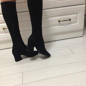 Черные замшевые сапоги р.38 Vero Cuoio