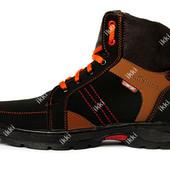 Мужские ботинки на меху зимние черного цвета (СБ-11чрз)