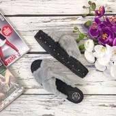 Модные меховые шлепанцы Missguided с декоративными заклепками  SH16100