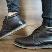 Ботинки Yuves, натур. кожа на меху, 2 цвета, р 40-45, код gavk-10512