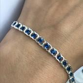 Браслет серебряный с камнями 2б15 синий