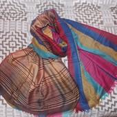 Двухсторонний широкий шарф, яркий и красивый