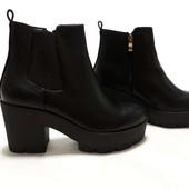 Демисезонные  кожанные ботинки  Fandq