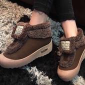 Бомба супер мода Крутые женские топсайдеры-Ботиночки Зима - Бордо и Шоколад