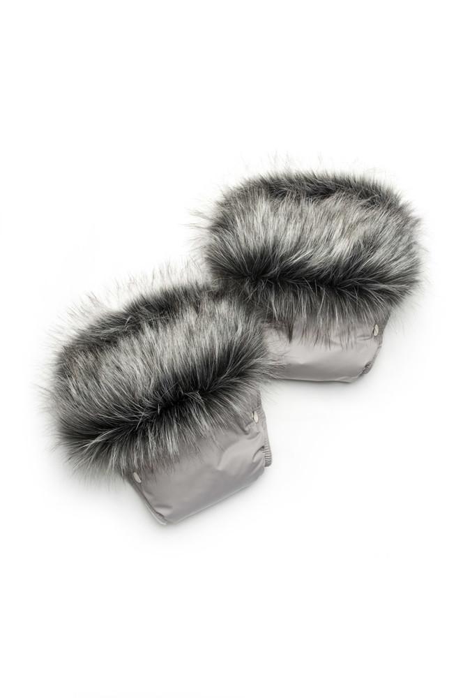 Рукавички для мамы на коляску, муфта  (серый + чернобурка) (03-00750-0) фото №1