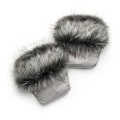 Рукавички для мамы на коляску, муфта  (серый + чернобурка) (03-00750-0)