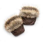 Рукавички для мамы на коляску, муфта (коричневый енот) 03-00750-1