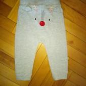Теплые прикольные спортивные штаны Tu 1-2 года отл сост