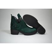 Новинка!!!! деми/зима ботинки натуральная замша / кожа код: Модель: 7917-92 зеленый замш