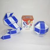 Головоломка змейка Рубика ShengShou бело-синяя