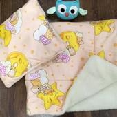 Детское мягкое поликоттоновое одеяло и подушка