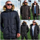 Мужская удлиненная куртка партка с капюшоном, осень-зима