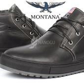 Ботинки кожаные Montana casual black мужские зимние на натуральном меху